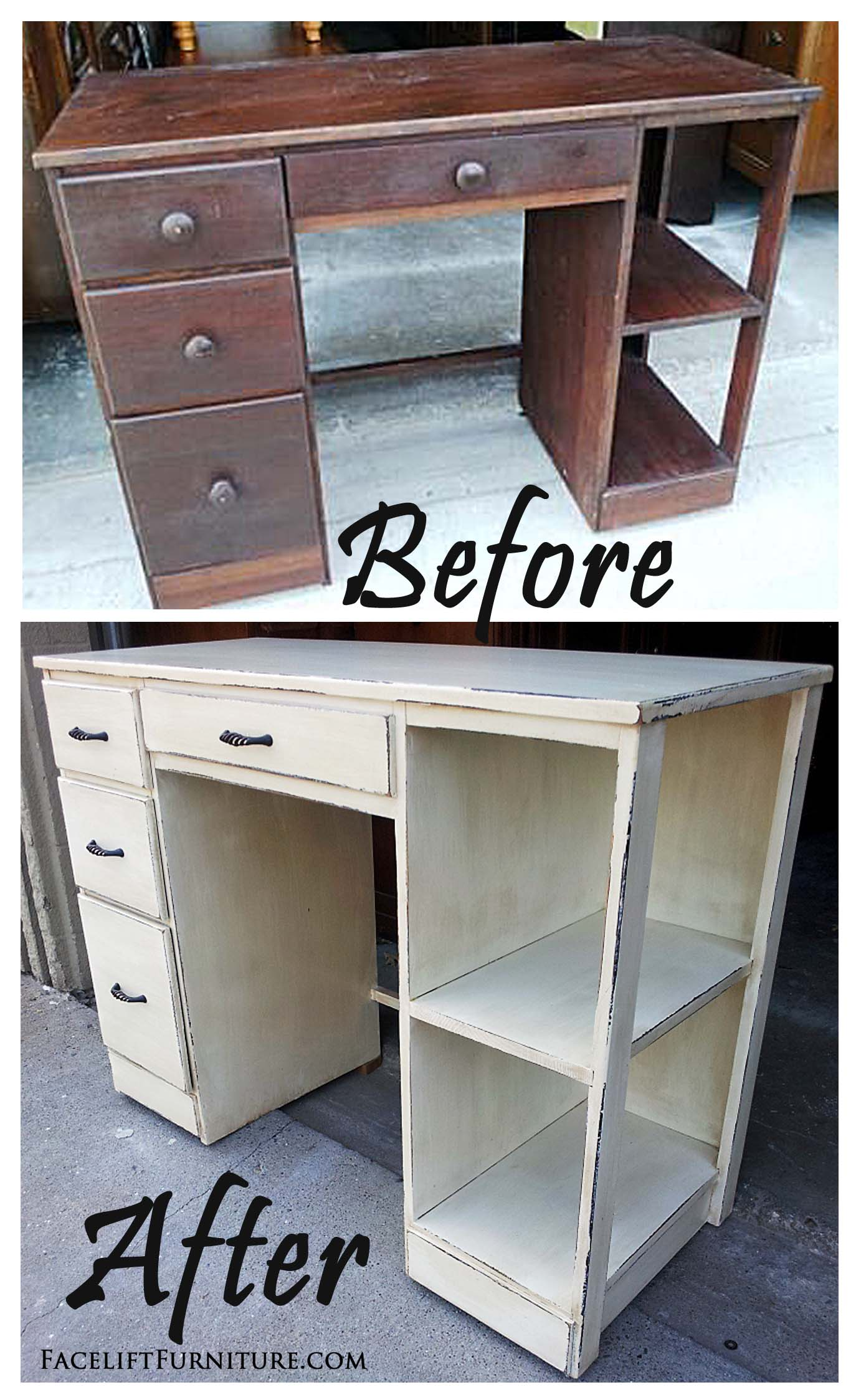 Off White Desk Shelf Before After