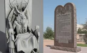 The Satan Statue against the Ten Commandments
