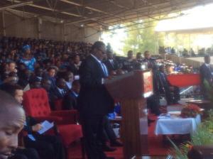 Mutharika giving his inauguration speech