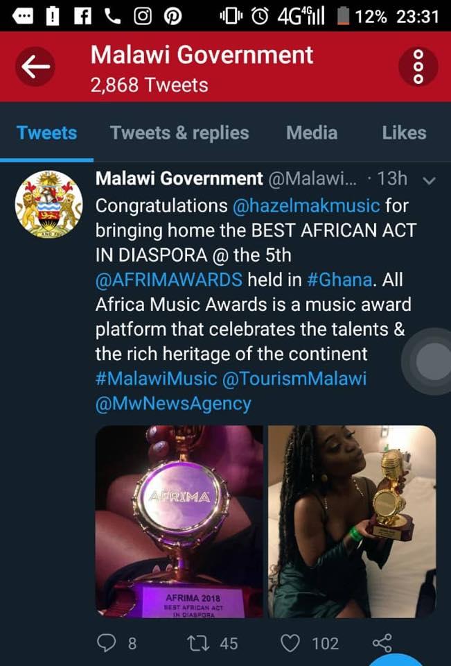 Hazel Mak Wins Award In Ghana | Malawi Music Blog