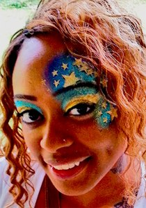 Adut face painting, face painting, Mettalic stars,