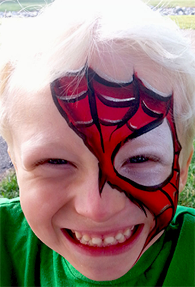 spiderman torn mask, face painting