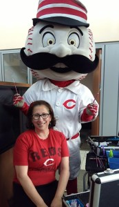 Mr Red Legs Cincinnati Reds face painting PNC Bank
