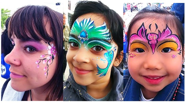Cincinnati Food Festival 2019 Kroger face painting mermaid, butterfly cherry blossoms