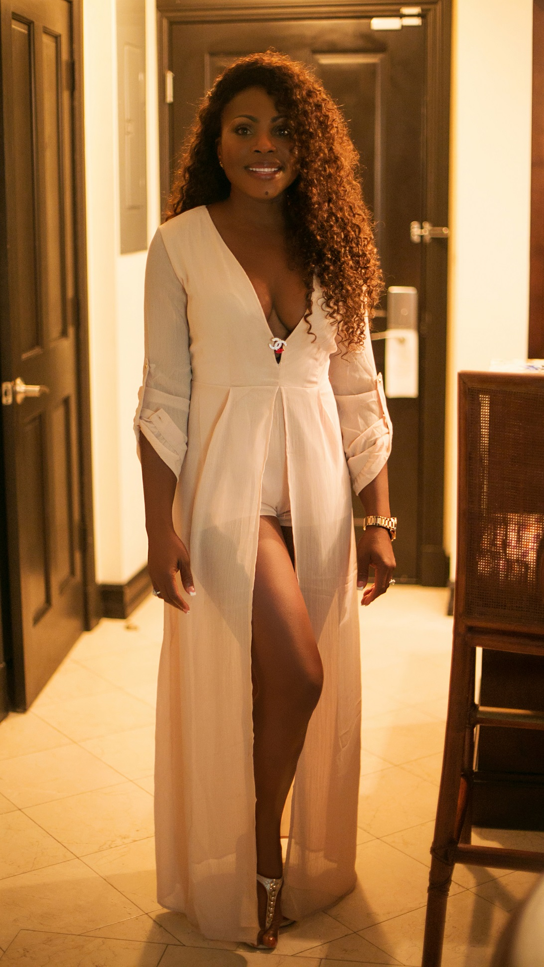 Nude V Neck Chiffon Maxi Romper By Hot Miami Styles