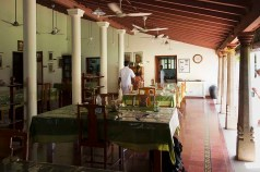 The dining room of The Bangala Hotel, Chettinad, in a moment of calm between meal services.