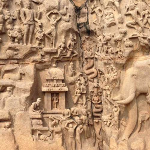 Descent of the Ganges stone carvings