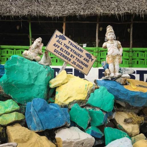 Icons assembled on the beach, Mamallapuram