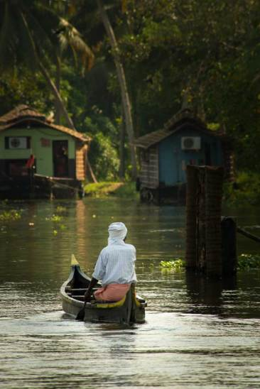 A lone paddler in the backwaters of Kerala.