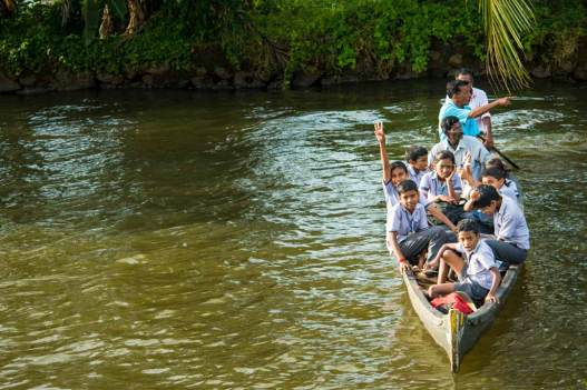 Local school transport, Chennamkary, Kerala Backwater.
