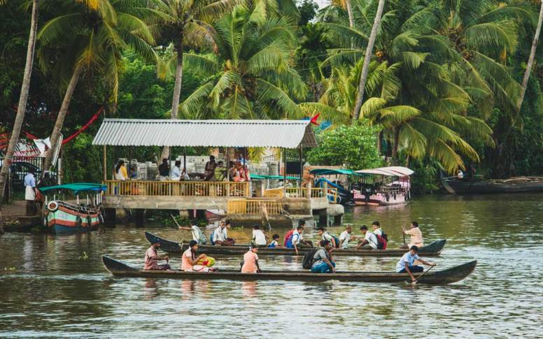Transportation hub in the Kerala backwater.