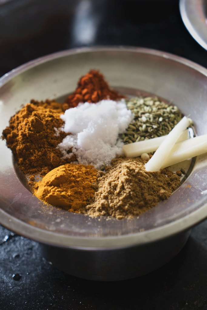 Spice prep for Aloo Masala.