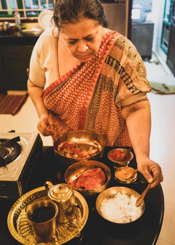 Abida Rasheed with mise en place for fish.