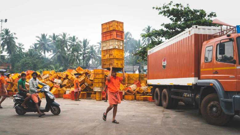 Man-with-Crates-and-Truck-Kozhikode-Fish-Market