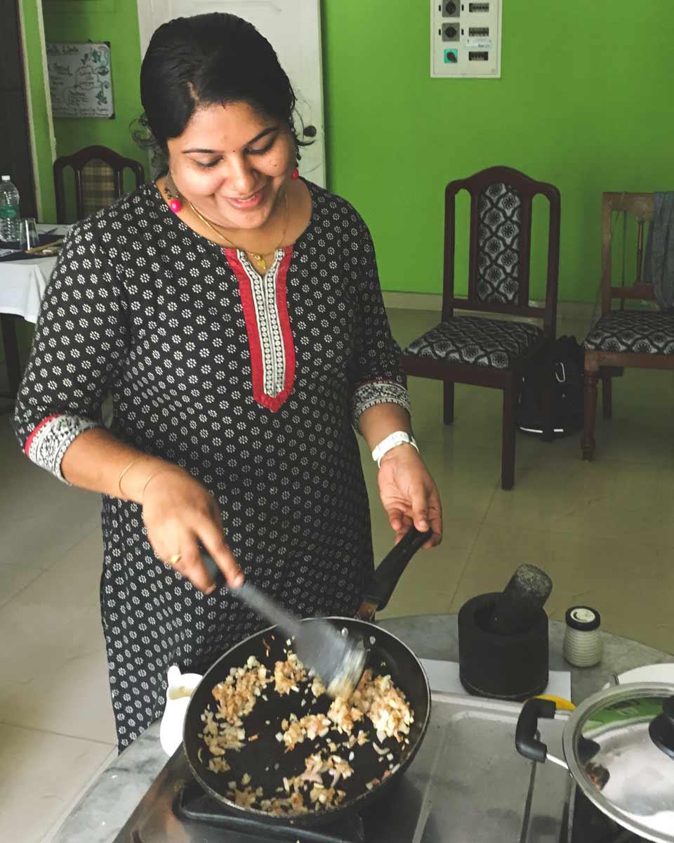 Aroma stir frying onion in a wok