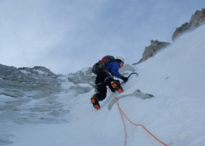 Reg Using the Nomic's on the North Face of Les Courtes