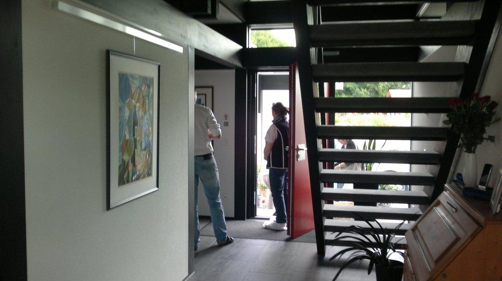 huf haus einläufige treppe - modernes fachwerkhaus