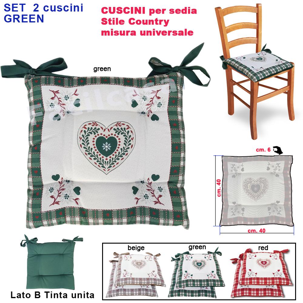 Sedia in tessuto verde faggio. Cuscini Per Sedie Verde 2 Cuscino Per Sedia Coprisedia Imbottito Cuscino Modello Shabby Cuori Tirolese Rustico Facilcasa