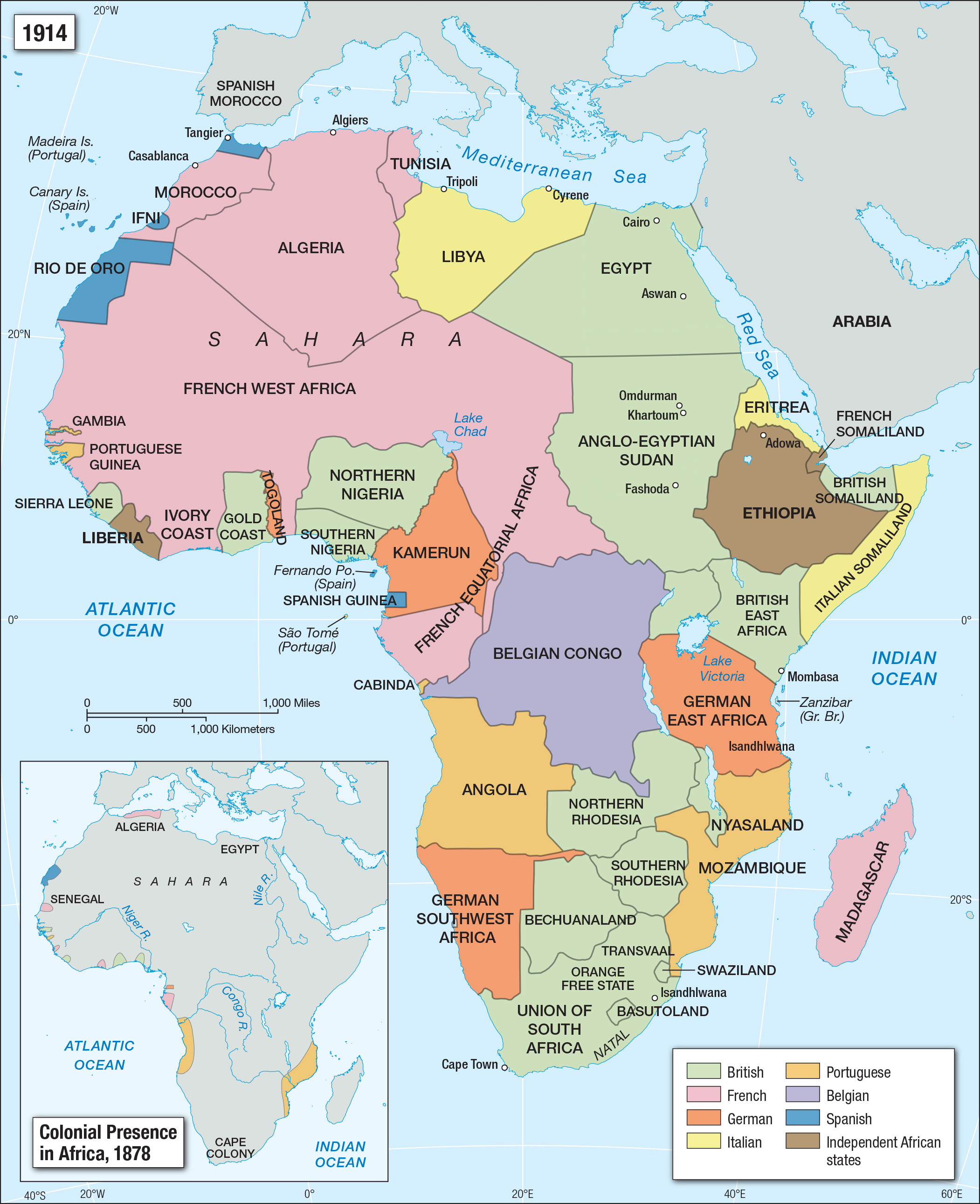 African Colonies Of Europe At The Beginning Of Ww1 Europe