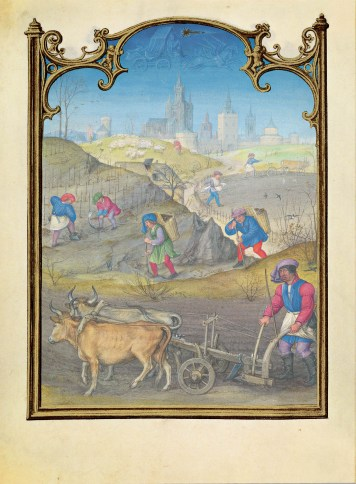 F. 3v. Calendar: March featuring working in the fields