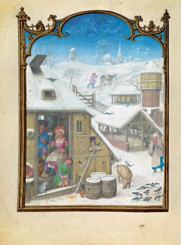 F. 2v. Calendar: February month represented with a rustic scene