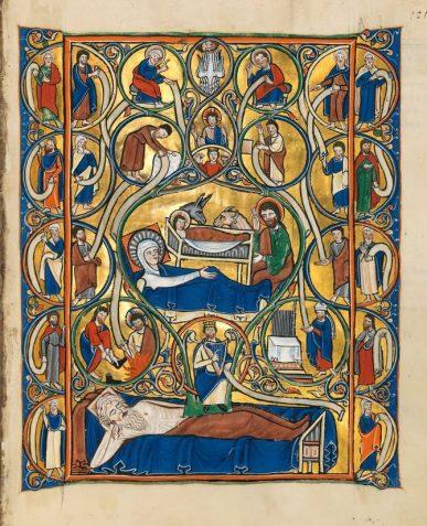 Nativity scene from the Golden Munich Psalter