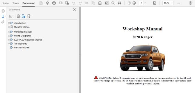 2020 ford ranger repair manual