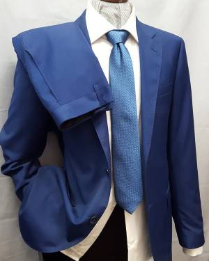 abito da uomo in tessuto pettinato tinta unita blu royal