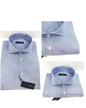 Camicia Da Uomo Cotone Bastoncino Blu