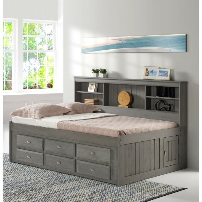 discovery world furniture full bookcase daybed in charcoal