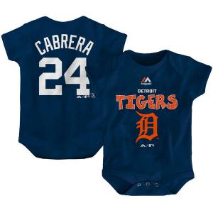 Newborn & Infant Detroit Tigers Miguel Cabrera Majestic Navy Stitched Player Name & Number Bodysuit