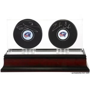 Autographed Columbus Blue Jackets Seth Jones and Zach Werenski Fanatics Authentic Hockey Pucks with Mahogany Two-Puck Case