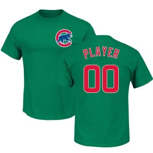 Men's Chicago Cubs Majestic Green 2018 St. Patrick's Day Roster Custom Name & Number T-Shirt