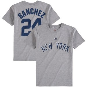 Youth New York Yankees Gary Sanchez Majestic Gray Player Name & Number T-Shirt