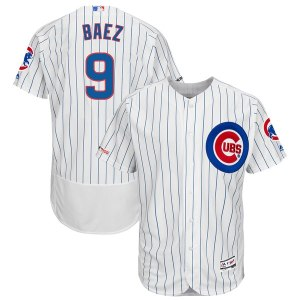 Men's Chicago Cubs Javier Baez Majestic White/Royal Home Authentic Collection Flex Base Player Jersey