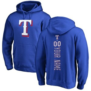 Men's Texas Rangers Royal Personalized Backer Pullover Hoodie