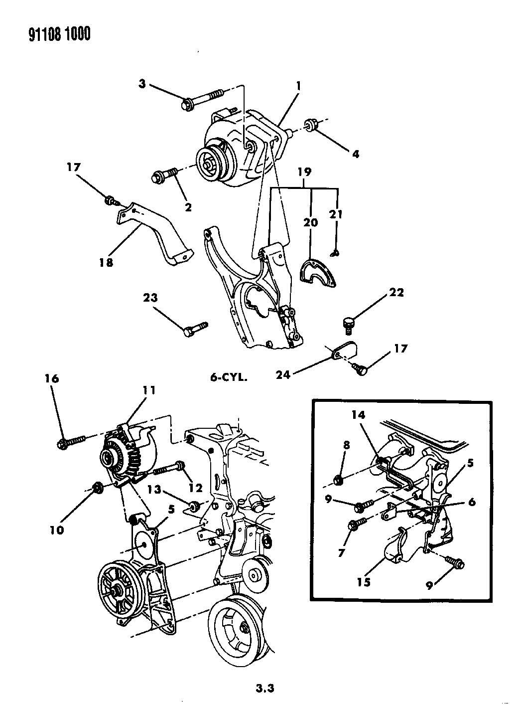 Plymouth Voyager Bracket Alternator Nippondenso