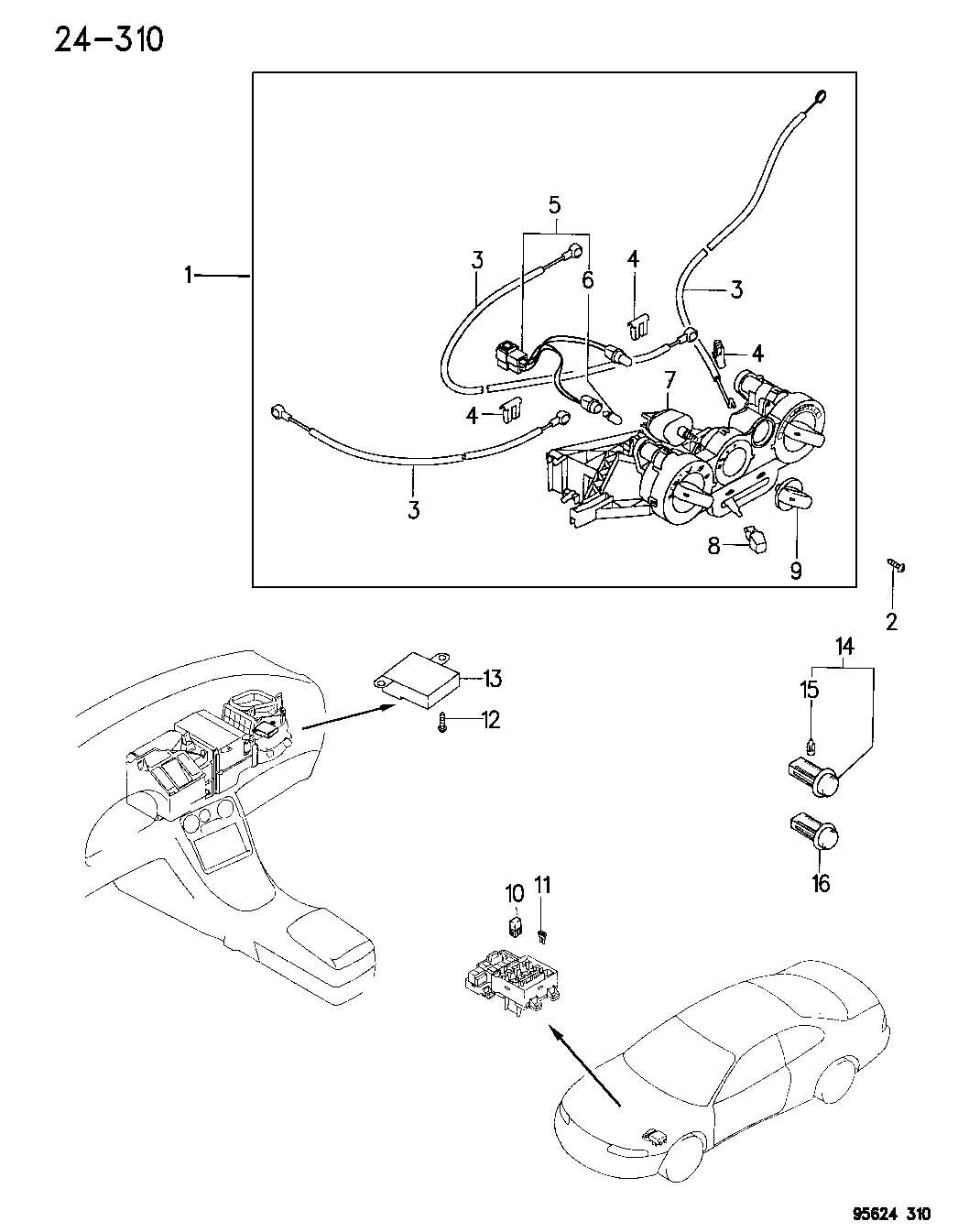 Dodge Caliber Cable A C And Heater Control Mode Wire