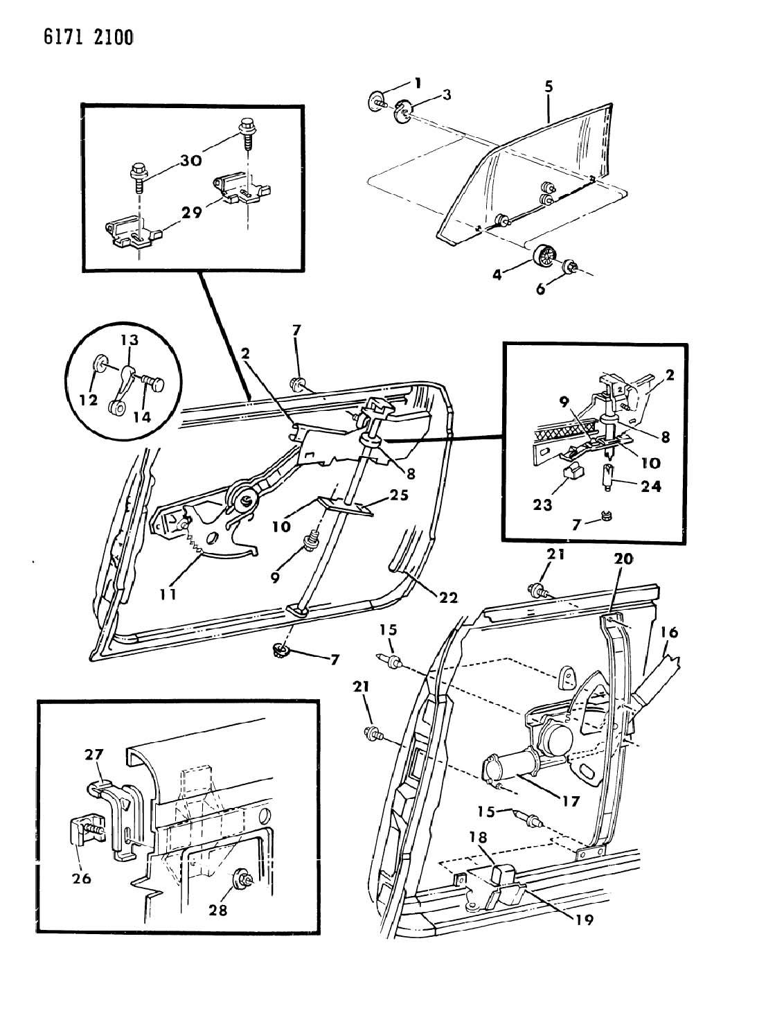Chrysler Door Front Glass And Regulator K Body 27