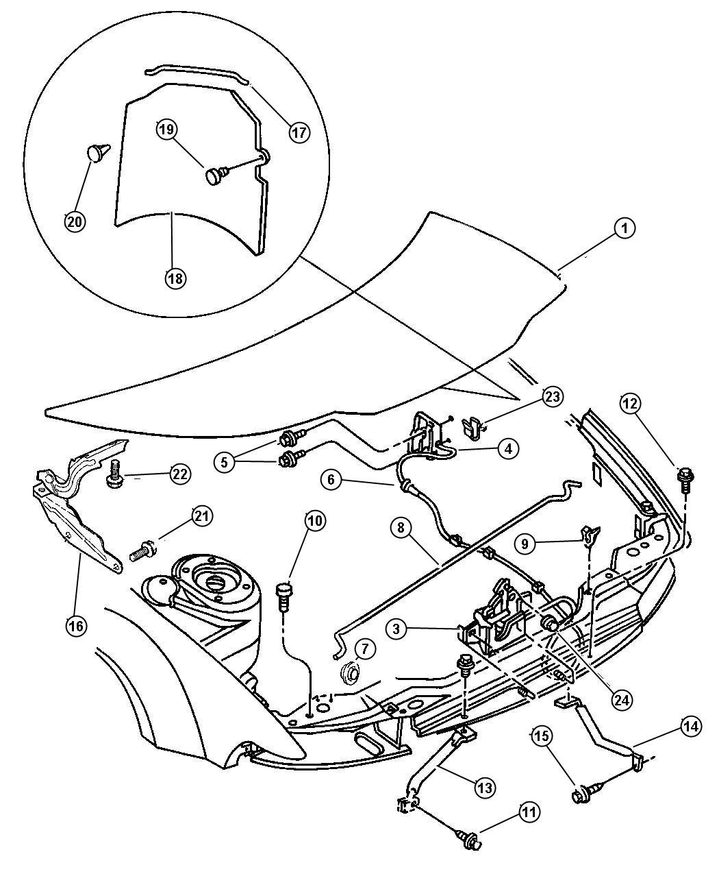 Chrysler Sebring Hinge Hood Left