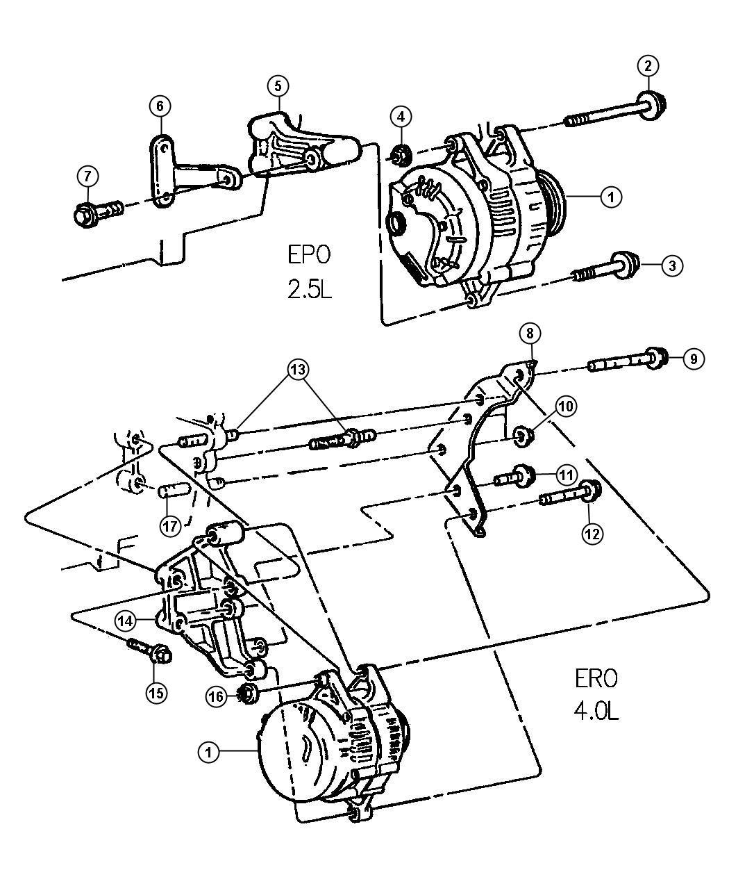 Alternator 2 5l Amp 4 0l Engines L H D