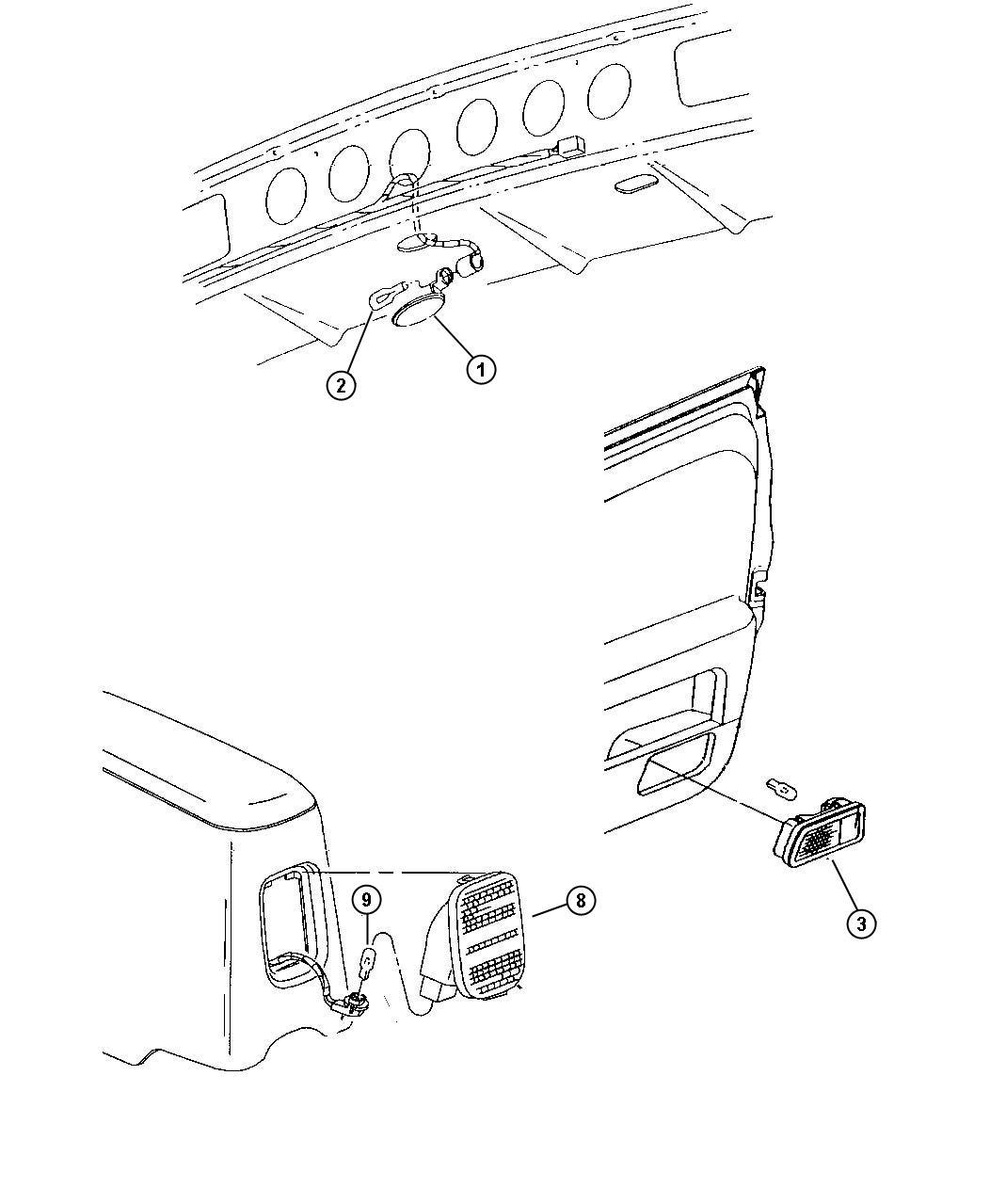 Chrysler Sebring Reflector Right Door Trim Panel Trim