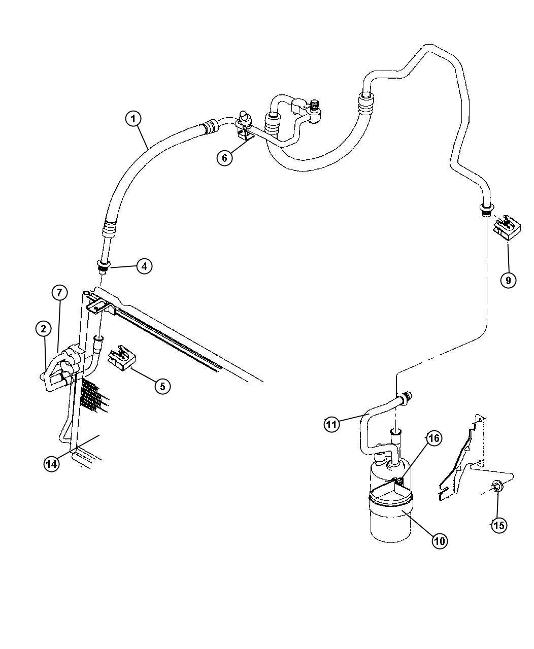 Jeep Wrangler Line A C Discharge Compressor To