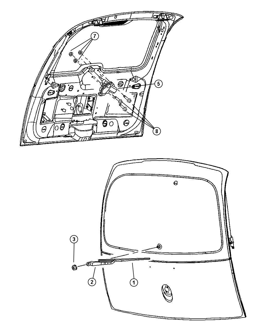 Chrysler Pt Cruiser Grommet Glass Wiper Motor And