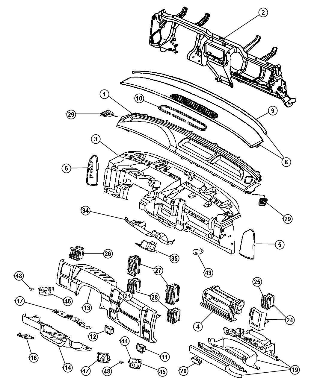 Dodge Dakota Grille Defroster Trim O0 Color L5
