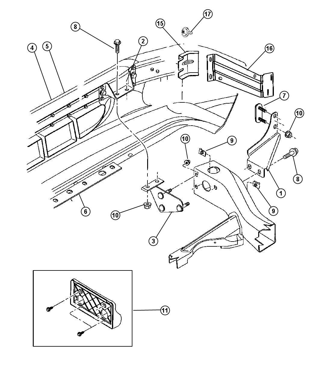 Dodge Dakota Bracket Front Bumper Right Inner