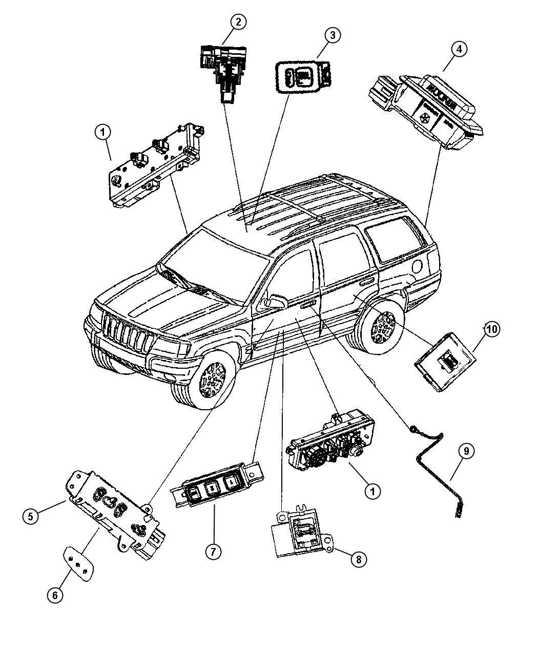 Jeep Grand Cherokee Switch Door Module Driver Driver