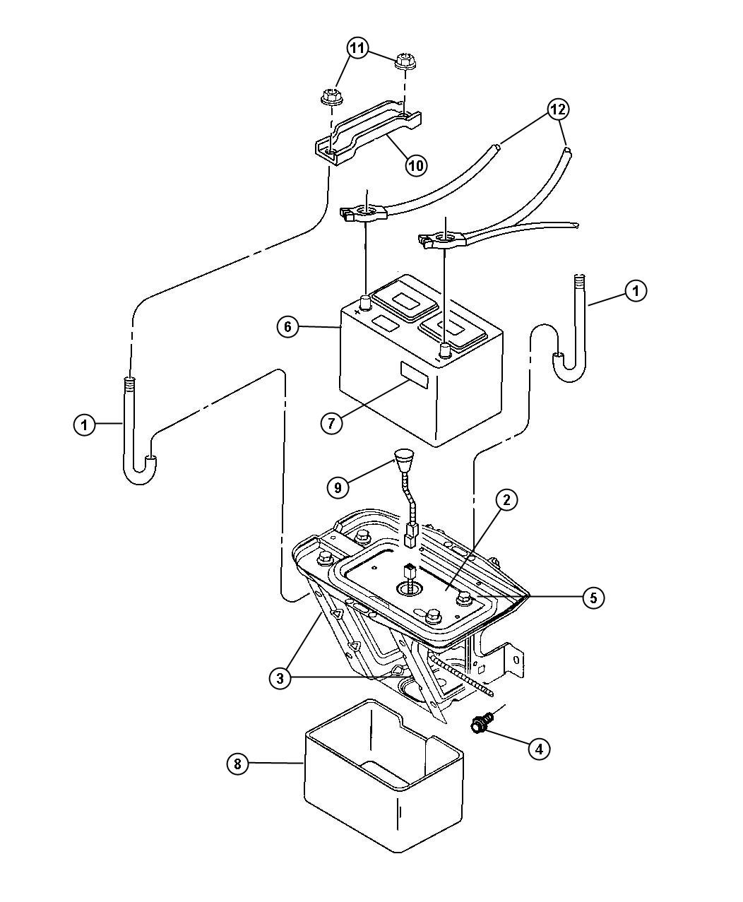 Jeep Wrangler Battery Tray And Cables