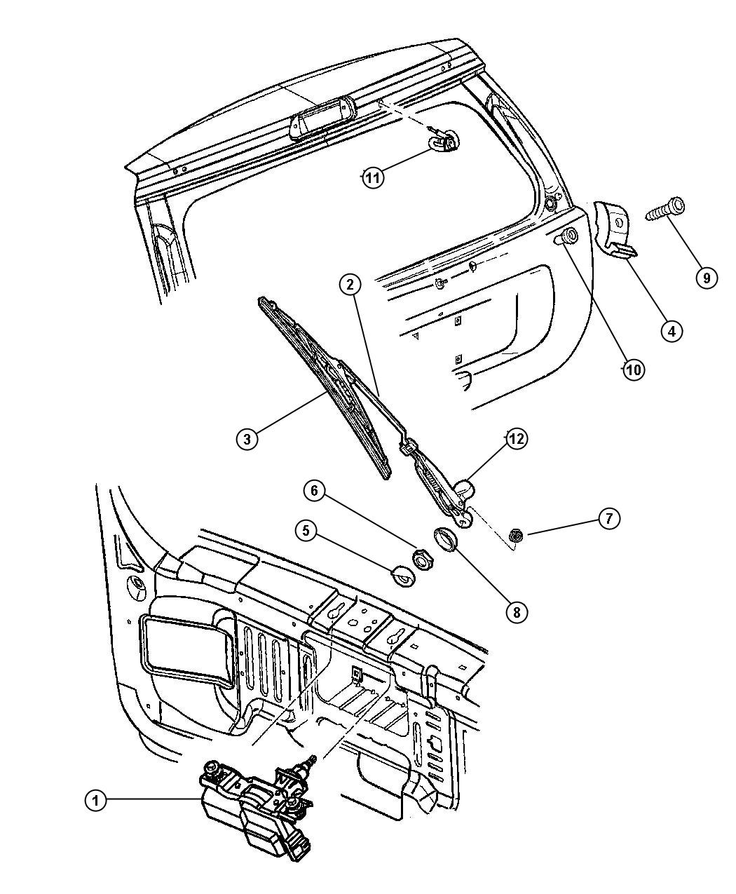 Jeep Liberty Cap Cover Rear Wiper Arm Rear Wiper Motor