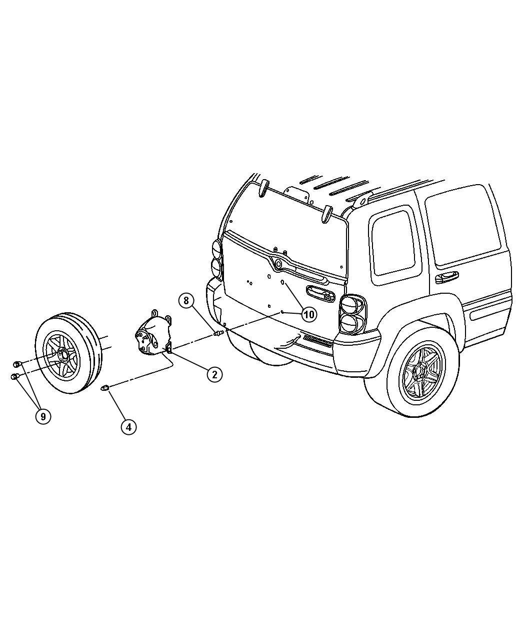 Jeep Liberty Stud Tbr Spare Tire Carrier Attaching